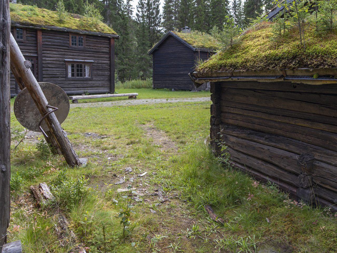 Slipstein og hus på Grane bygdetun