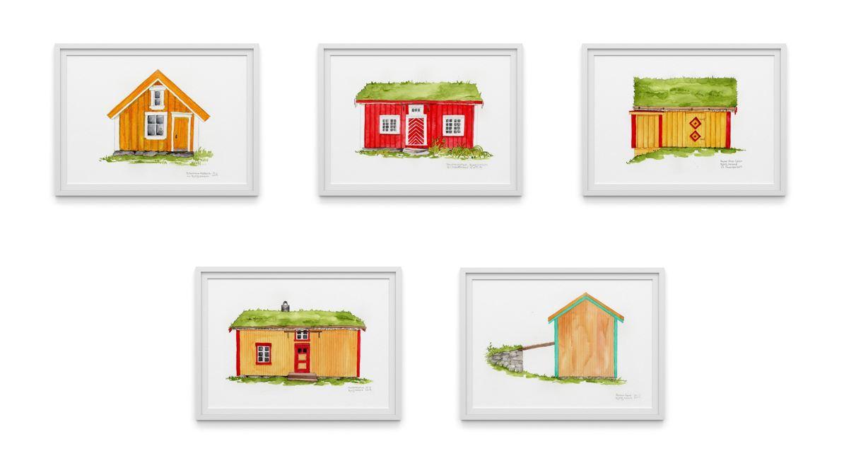 Byggene på Vevelstad bygdetun. Akvarellregninger av Bjørg Helele Andorsen