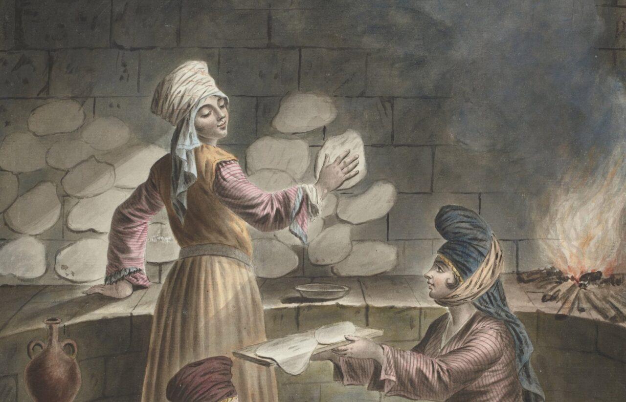 Maleri av syriske kvinner, malt av Francois Marie Rosset i 1790. Arkiv: wikimedia.