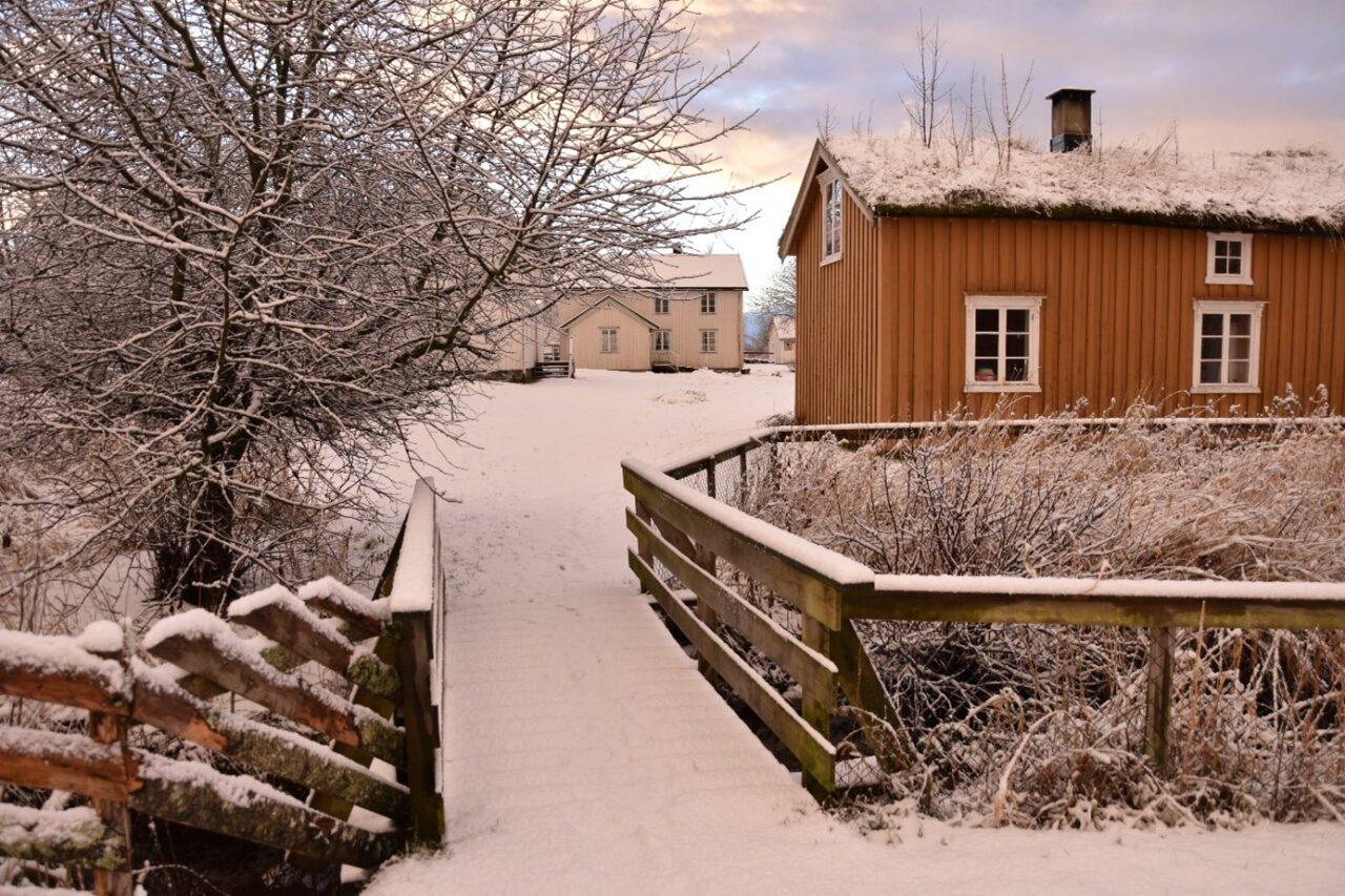 Sømna bygdetun i fint snøvær
